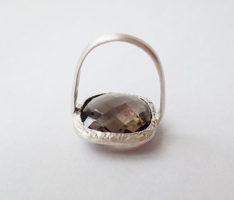 Smoky Quartz, 999-Fine-Silver, ring