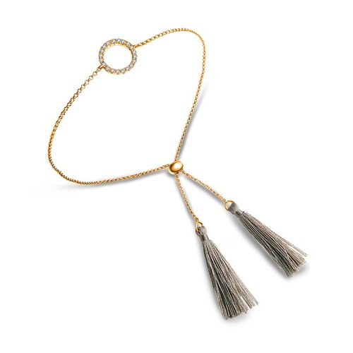 Round Shape Diamond Bracelet with Gray Tassel