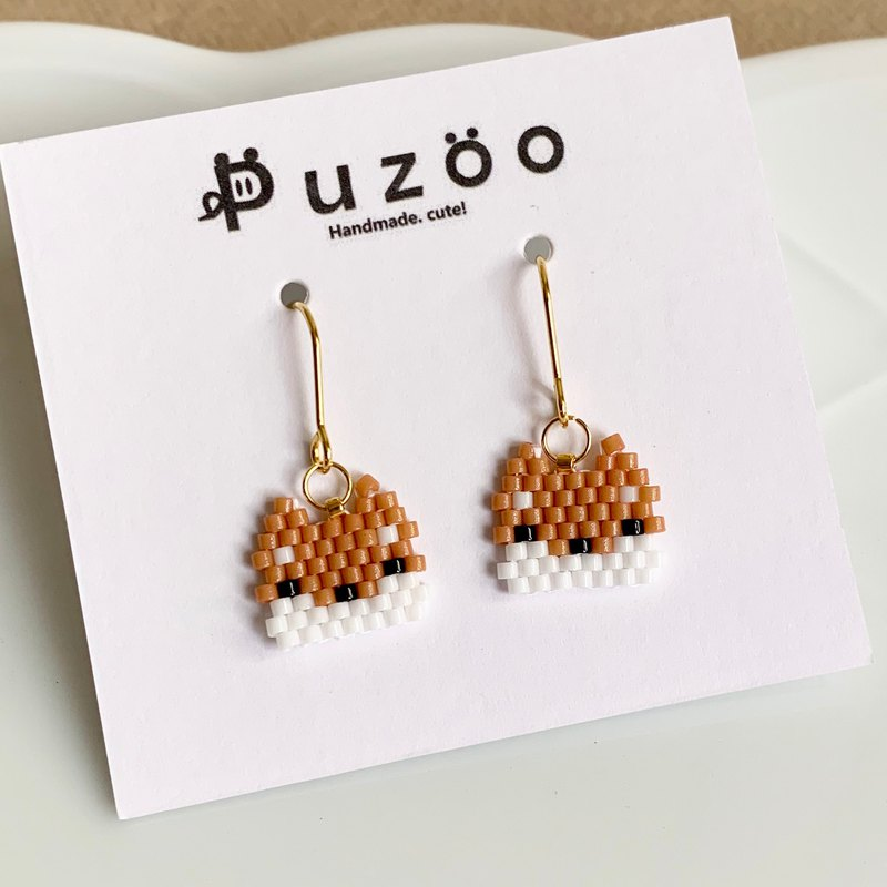 Shiba Inu Wang Wang hand-made beaded anti-allergy 316 stainless steel earrings / change clip