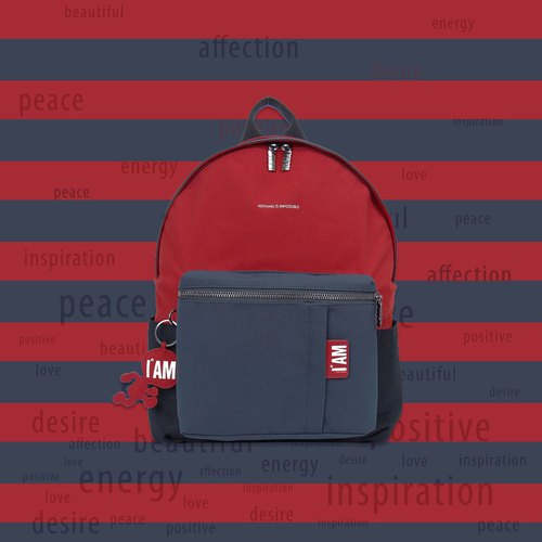 [Free shipping] M red, blue and black color large piece backpack