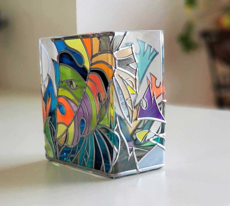 Glass Art Vase Rectangle  Tropical Island