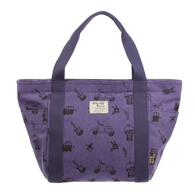 BL20702 : purple color silkscreen pattern canvas big bag