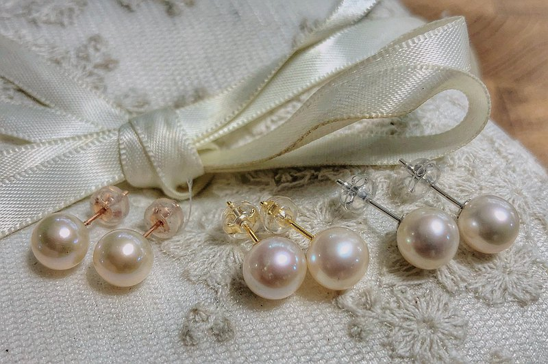 [Freshwater Pearl Studs] Ear Pins 925 Silver Gold Plated Rose Gold White K (Original Price 1280 Yuan)