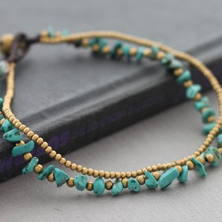 Turquoise Brass Beaded Anklets Woven Ankles Bracelets Hippy Boho Chic