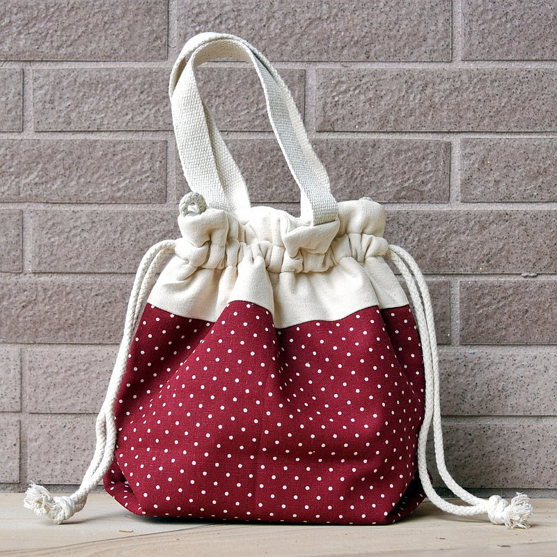 Three-in-one shoulder / cross-body / portable beam bucket bag ~ red dot (A60)
