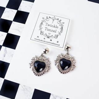 Silver frame black love gemstone earrings