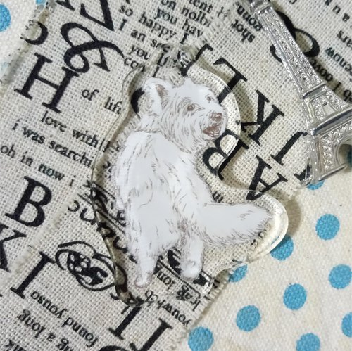 Sketch back - West Highland White Terrier ~ Acrylic Charm (excluding key ring)