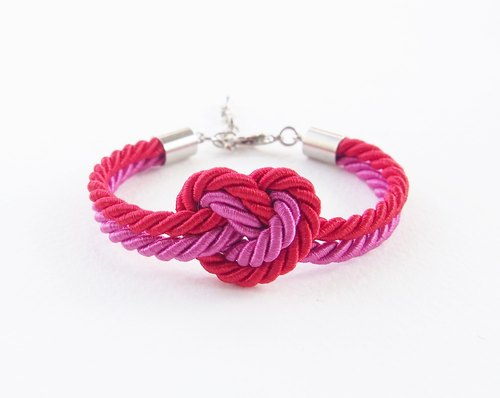 Red and hot pink heart knot bracelet