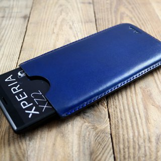APEE leather manual ~ plastic mobile phone holster ~ plain dark blue ~ Sony XZ2