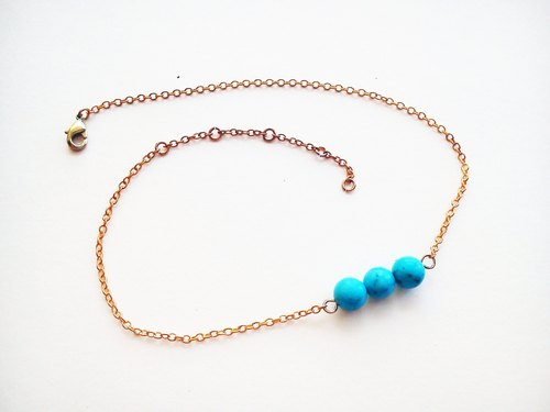 Turquoise Turquoise 3 packs anklets 100% own design handmade - Long Vocation series