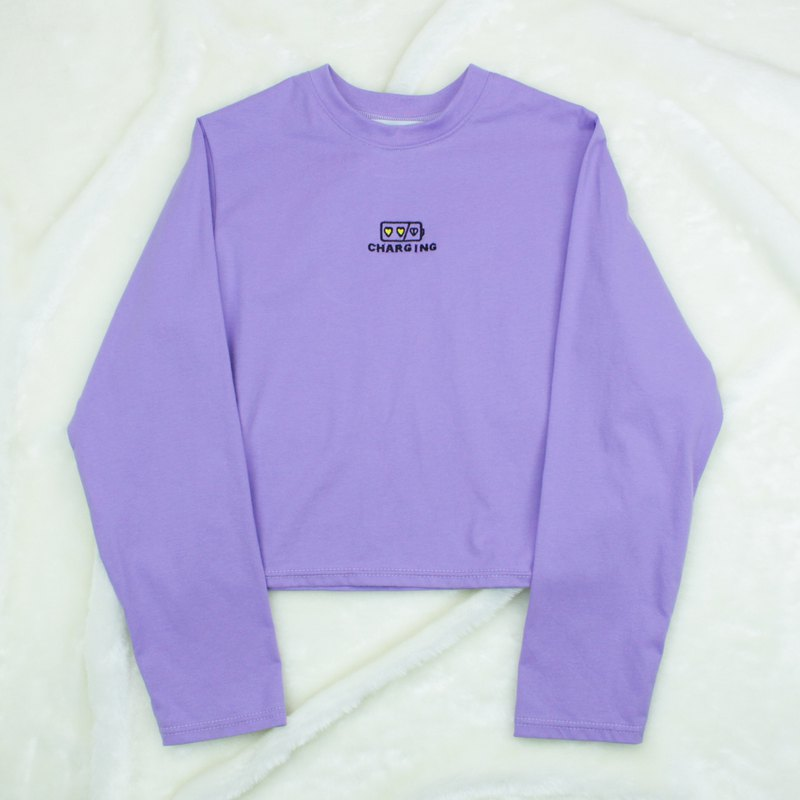 CHARGING EMBROIDERY T-SHIRT - PURPLE