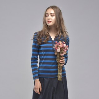 Shirt collar two-tone gradient striped long-sleeved shirt