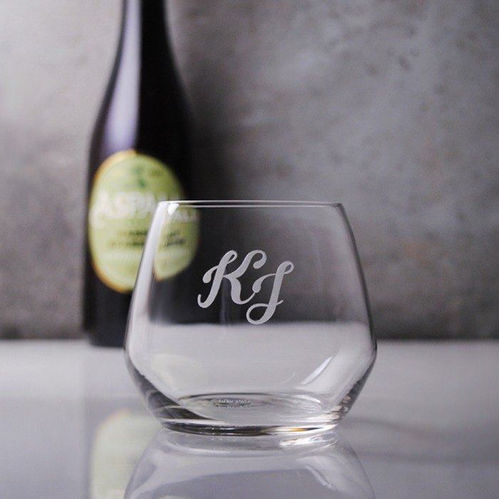 345cc [letter cup] 2 English alphabet glass carving whisky cup English abbreviation name customization