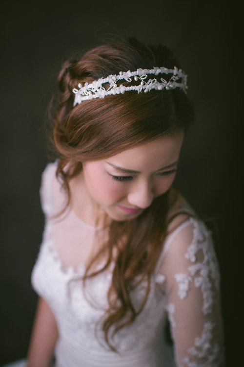 Bridal headband- Korean style, double strands, silk flowers, beading of crystals and freshwater pearls