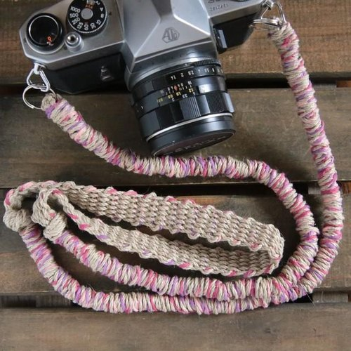 MIX hemp camera strap pink (belt)