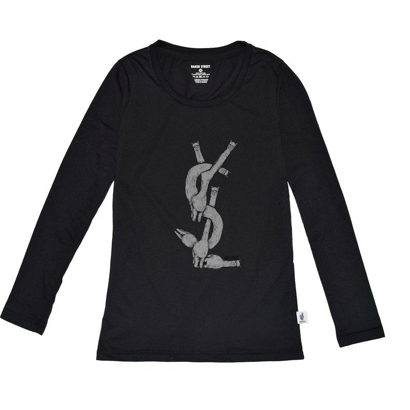 British Fashion Brand [Baker Street] Exercising Alpaca Printed Long Sleeve
