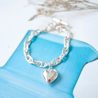 Bubble Bubble Love Heart Silver Bracelet