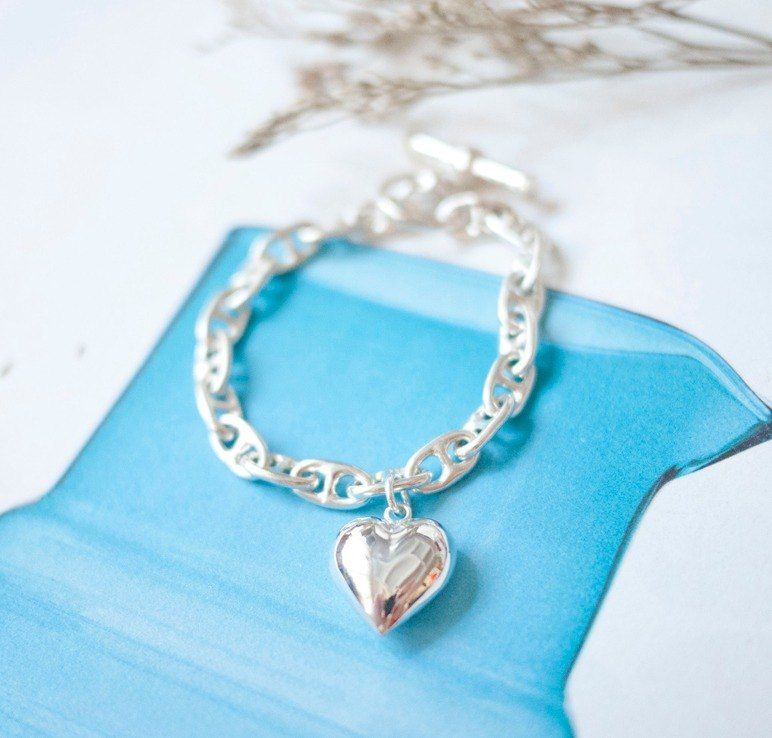Bubble Love Bubble Heart Sterling Silver Bracelet