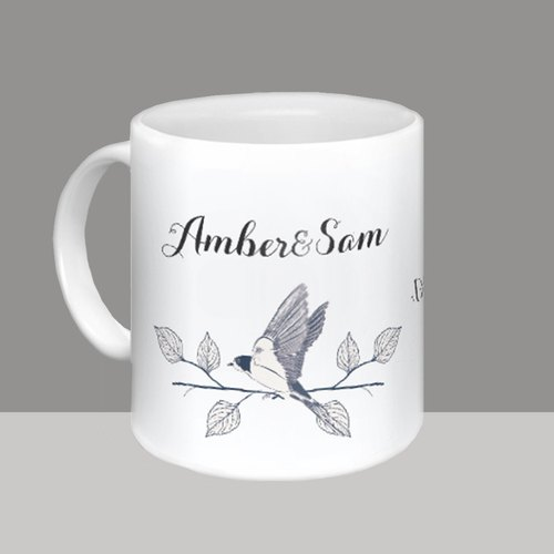 <Customize Mug>Acacia Bird Personalized Couple Cup