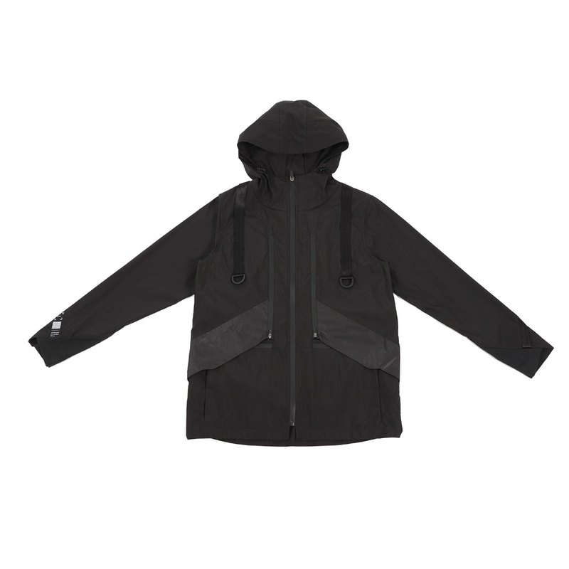 Hidden multi-pocket hooded jacket (black)