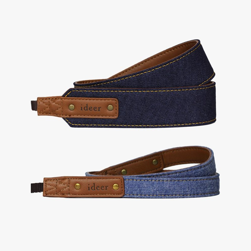 [Offer combination] denim dark blue camera belt (rough) + denim wash water blue camera belt (young)