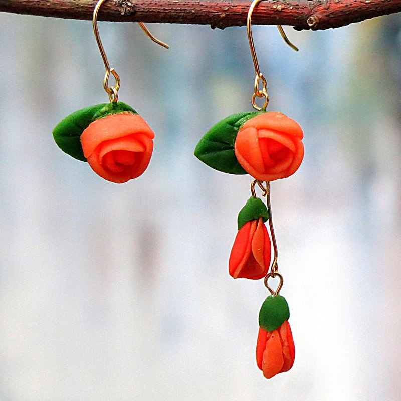 14kgf .  Paris Rose Earrings , Orange  , Charming , Valentine's Gift