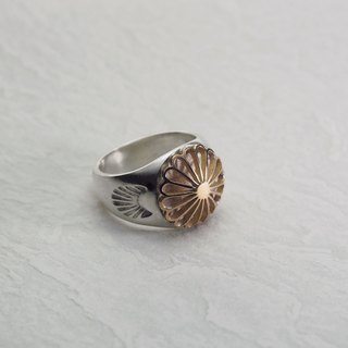 Silver Seal Ring with 18K Juuroku Kiku