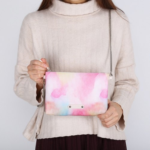 Pink Watercolor Print PU Faux Leather Zipper Pouch