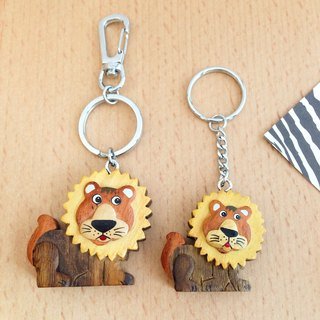 [Handmade wooden x animal series] * curious sun lion key ring / strap