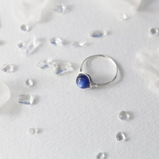 6mm blue crystal silver line ring