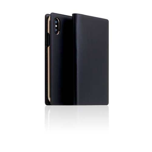 SLG Design iPhone X D7 IBL fine collection section top leather side flip leather case - black