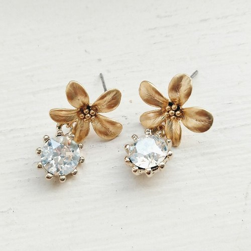 fog gold diamond flower earrings momolico