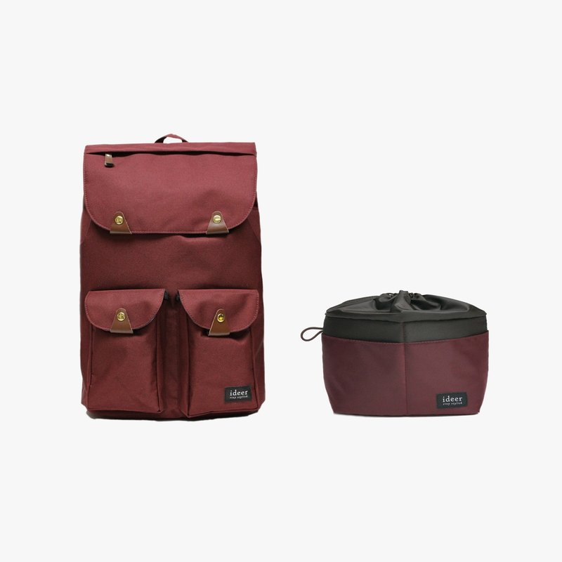 [Shipping] Taylor Wine composition after water repellent nylon laptop backpack + Casey Wine alone colorful candy-colored anti-micro-camera bag / storage inside the bag / package package