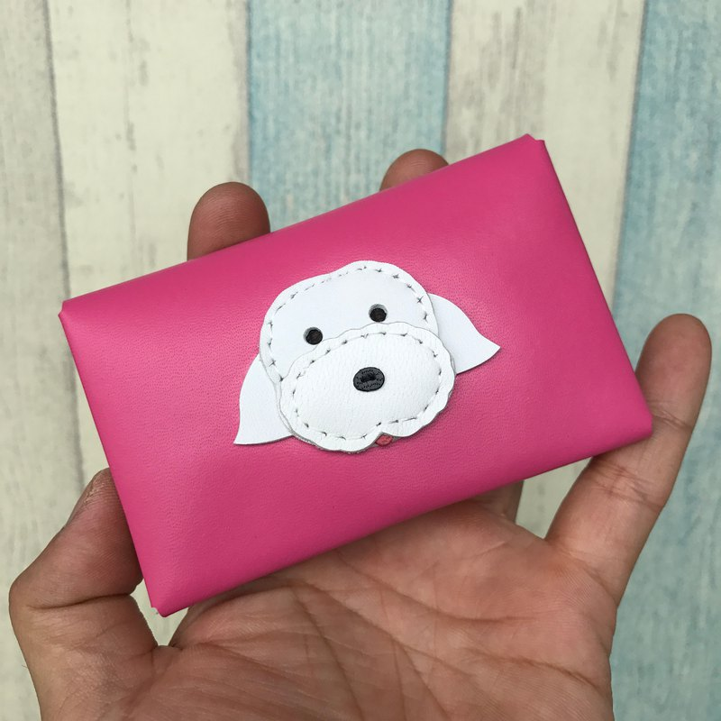 Leatherprince Handmade Leather Taiwan MIT Maltese Pink Card Holder - Maltese leather cardholder