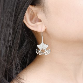 Botanical Garden Series - Three-piece Ginkgo Ginkgo (Silver Earrings) ::C% Handmade Jewelry::