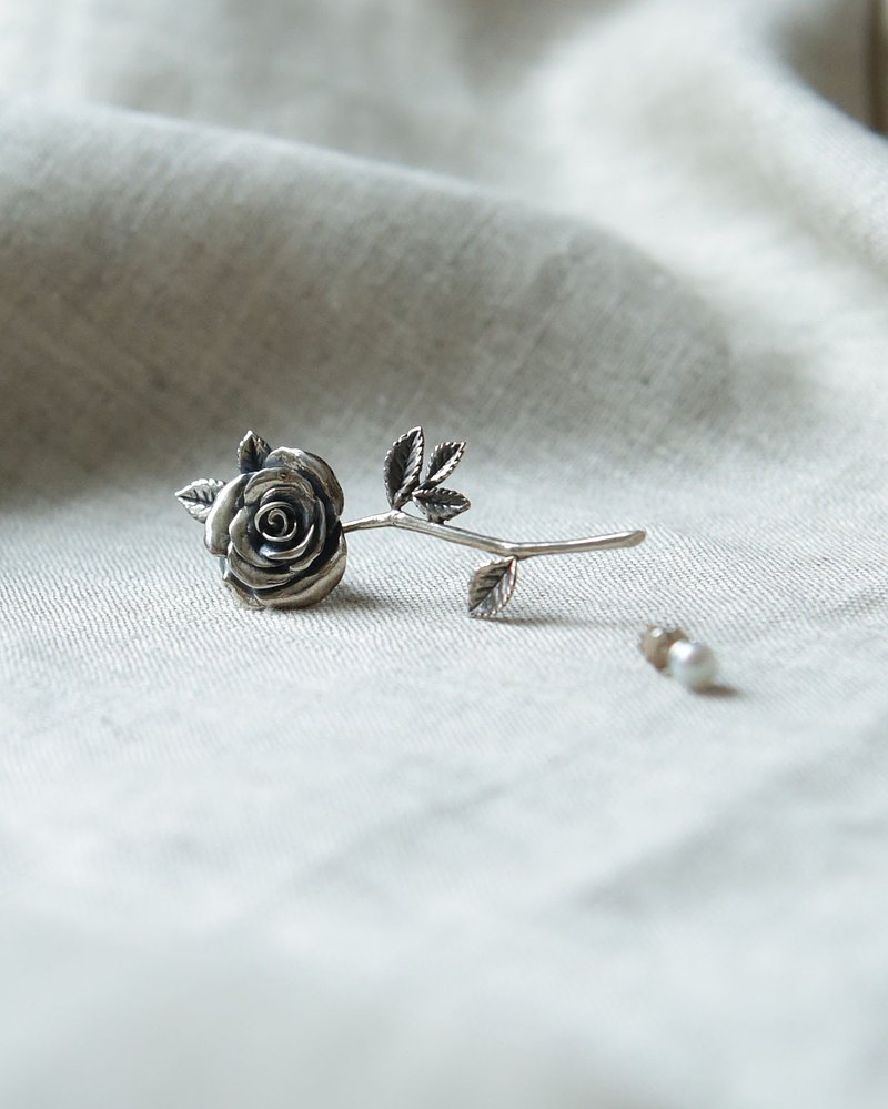 Petite Fille sterling silver rose flower pearl stud earring earrings two kinds of matching