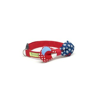 GOOOD Dog Collar (Small Sz) | Angled Bow - Little Sailor | 100% Red & Blue Cotton Fabric