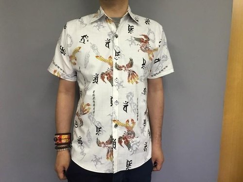 Short-sleeved shirt Japanese Pattern (Sanskrit and phoenix)