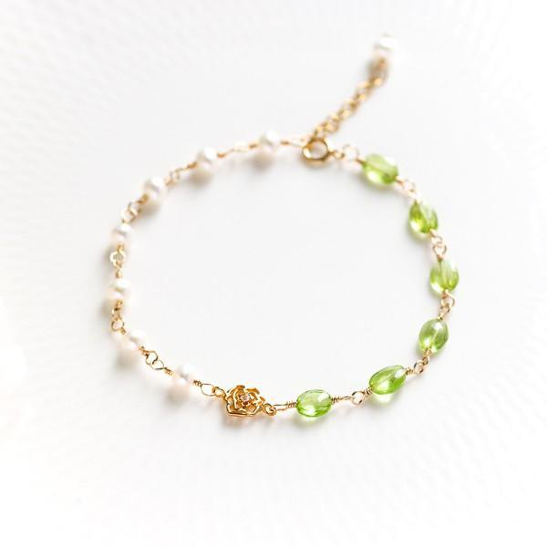 Peridot and pearl rose or Infinity bracelet August birthstone separately