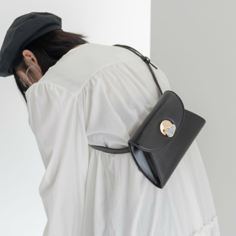 Black 2 color design marble lock envelope small chest pocket pocket PU leather shape shoulder bag