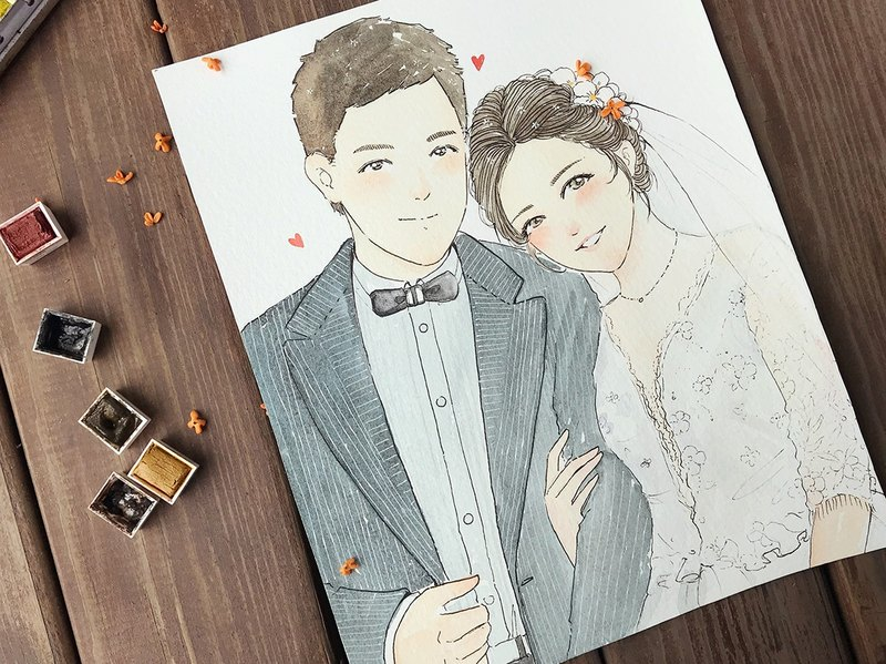◆ SS. Yan Feng Hua @ 10-inch double (hook line style) watercolor hand-painted photo cartoon portrait painting
