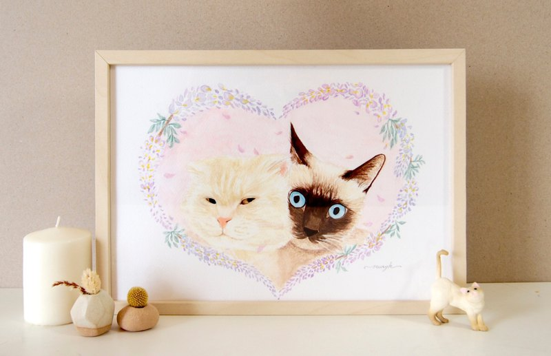 Customized pet flower hand-painted watercolor illustration - A4 multiple hairy children (semi-body with box)