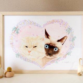 Custom Pet Flower Hand Painted Watercolor Illustration - A4 Many Hairy Boys (Half Included Frame)