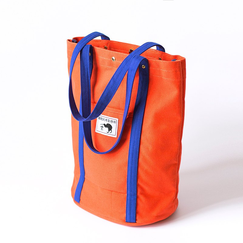 Simple lightweight canvas bag L-orange blue contrast color / retro side backpack / super storage tote bag / Christmas gift
