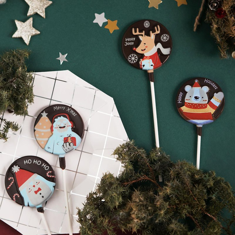 Cartoon Christmas limited chocolate lollipop-(22g/piece)