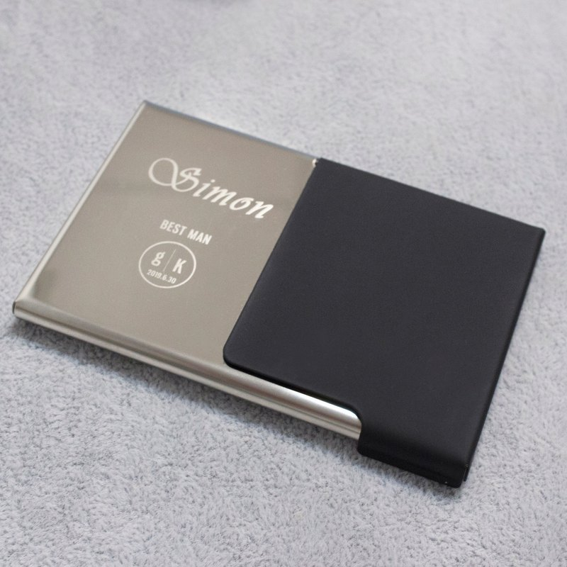 Best Man Gift * Half Face PU Lacquer Business Card Holder-Black
