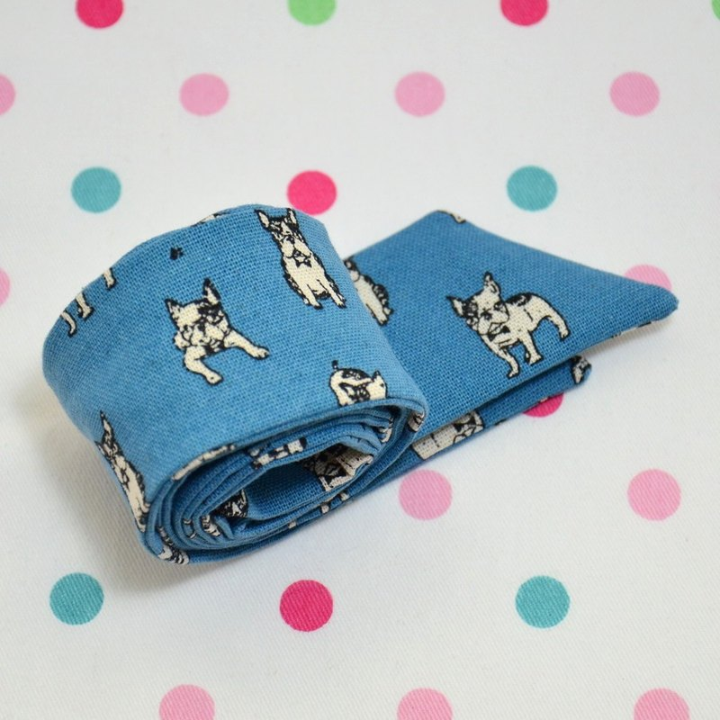 Bulldog _ blue bunny ears headband