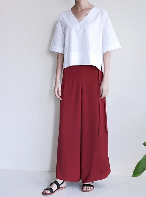 Bandwidth dark red tie waist pants (showpiece clearing)