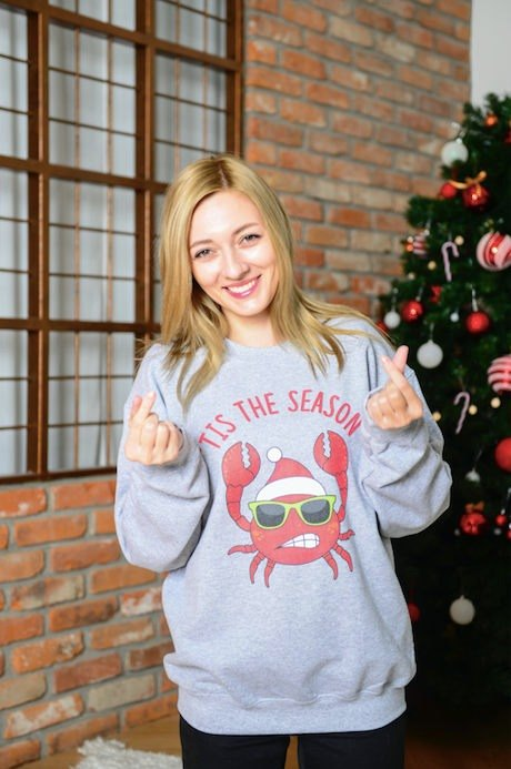 Tis The Season Red & Gray Crab Sweater - Ugly Christmas Sweater Crewneck - Holiday Sweater