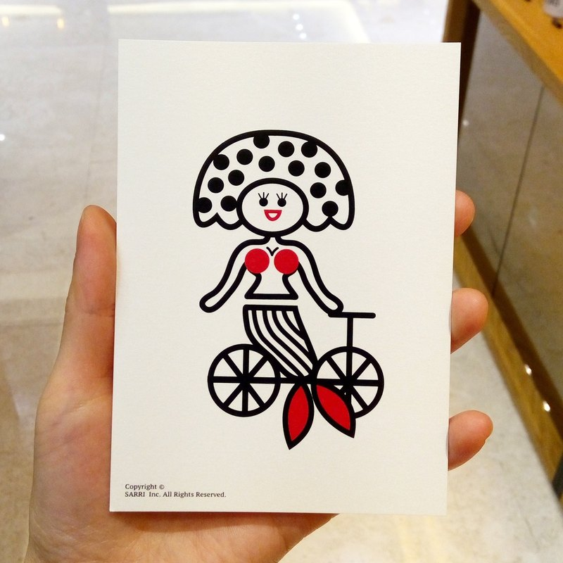 """Danish Mermaid"" postcard birthday card design coloring illustration card this card universal card art fine arts modern lover love especially interesting strange weird cute taiwan fun interesting eye-catching tide art sequins flash cool different"